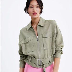 Zara Cropped Belted Linen Jacket